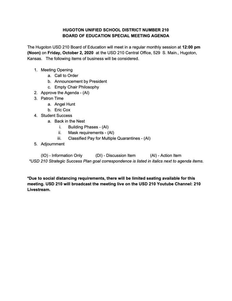 October 2, 2020 Special Meeting Agenda
