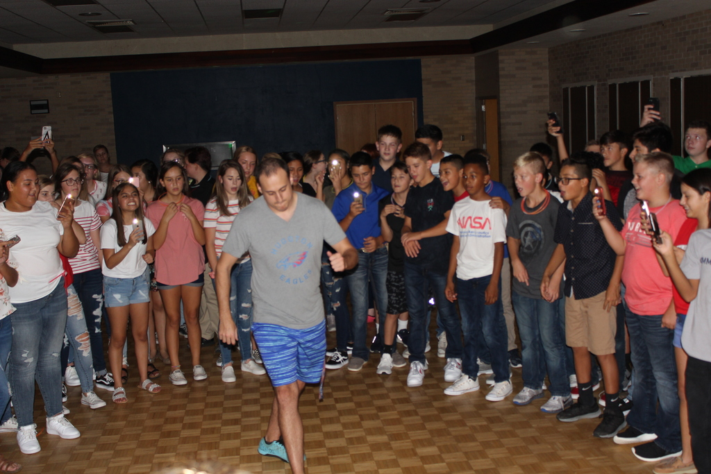 Mr. Barre showing students his dance moves!
