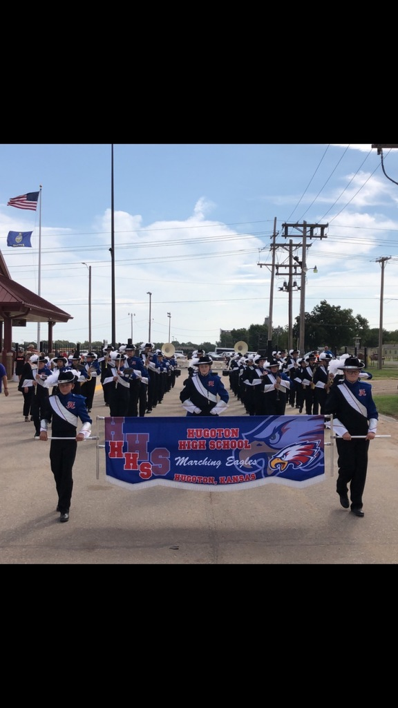 HHS Band receiving a 1+ rating at the Kansas State Fair Marching contest on 9/09/2019