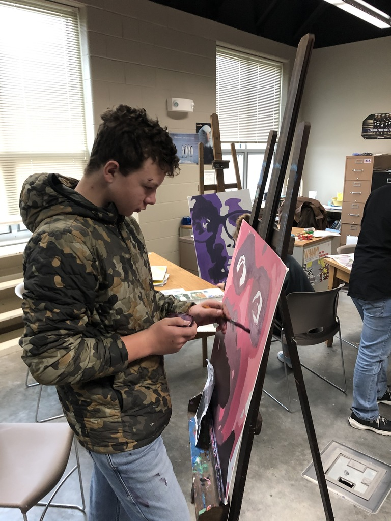Art students engaged and creating masterpieces!