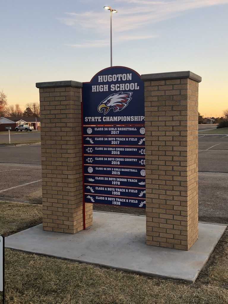 Hugoton High School State Championship sign.