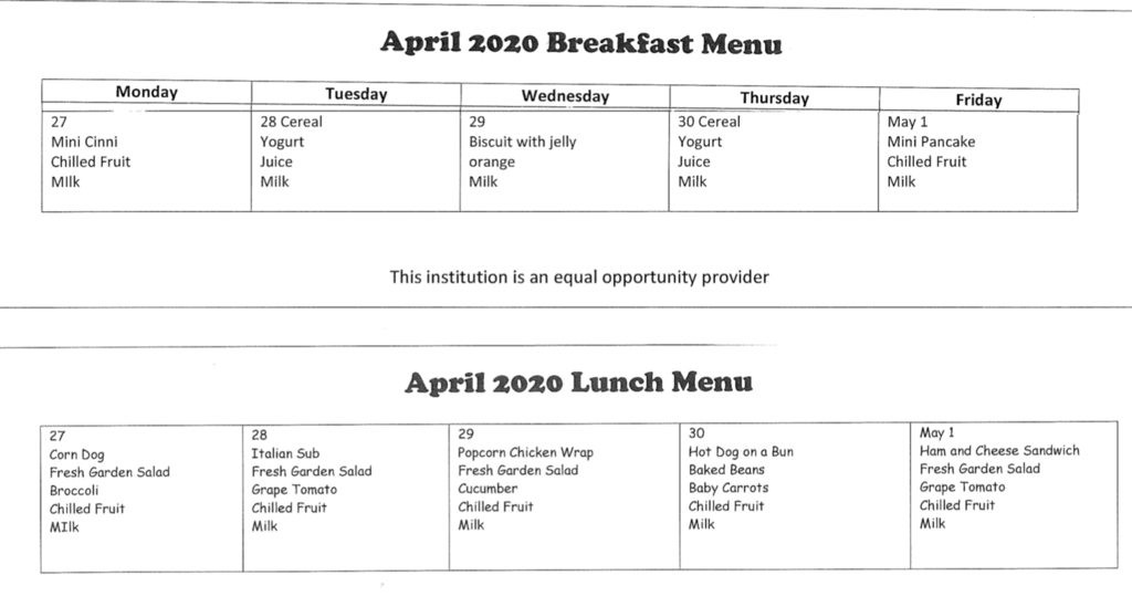 Menu April 27 - May 1